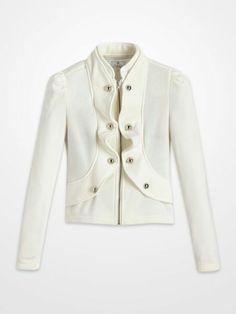 Ashley Ivory Cropped Jacket $24.99 #military #ruffle #outerwear #blazer #white #ivory #winter #fall #fashion