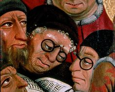 The Disputation of St. Katherine with the Philosophers, anonymous, Austria DETAIL showing eyeglasses. Renaissance Image, Italian Renaissance, Ancient Egyptian Art, Ancient Aliens, Ancient Greece, Medieval Times, Medieval Art, Fruit Costumes, Catherine Of Alexandria