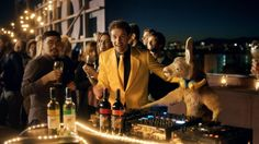Roopert the roo spinning decks during Yellow Tail's Super Bowl ad (Image: Supplied by Yellow Tail).