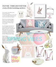 """Bunny Decor"" by sakuranoki ❤ liked on Polyvore featuring interior, interiors, interior design, home, home decor, interior decorating, L'Objet, Williams-Sonoma, Post-It and Martha Stewart"