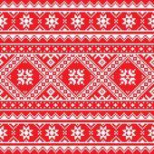 Ukrainisch, gestrickte slawischen Volkskunst rote und weiße Stickerei Muster — Stockvektor