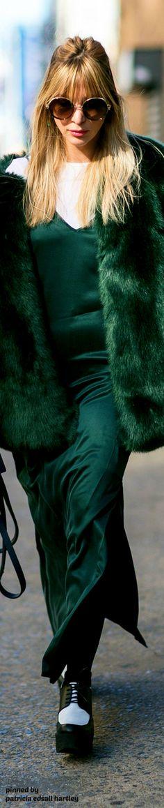 Beautiful dark green silk slip dress, with matching fur-stunning.
