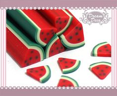 Watermelon Fruit Polymer Clay Cane / Fimo Cane Stick For 3D Nail Art Decoration Miniature Sweet Food / Dessert / Cake Deco F114. $0.99, via Etsy.