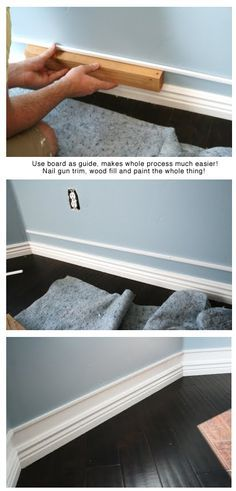 DIY UPGRADE... add a strip of trim a bit above already existing baseboards, paint and voila.. easy/cheap faux amazing thick baseboards!