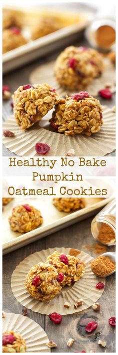Healthy No Bake Pumpkin Oatmeal Cookies | These healthy pumpkin cookies are the…