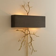 Limited Production Design & Stock: Elegant Branch & Twig Wall Light * Bronze Shade & Brass Finish * 31 x 20 x 4 inches * Hardwired Version Wall Rod Not Included * Partner Grand Scale Floor & Table Lamps Available Hall Lighting, Wall Sconce Lighting, Chandeliers, Interior Wall Lights, Contemporary Wall Lights, Modern Foyer, Traditional Wall Sconces, Cool Lamps, Decoration
