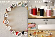 embroidery hoop thread rack tutorial by yellow spool