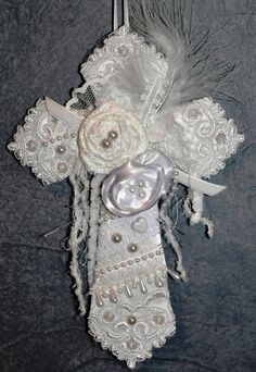 Recycled wedding lace and fabric cross