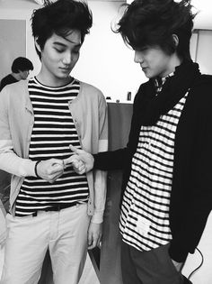 Kai + Sehun EXO..bi rly love their hairstyles in this pic and they're def rocking the stripes