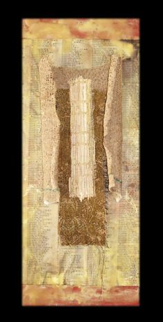 Sue Simpson | Organic Series | burlap book spine and book page, mixed media encaustic /sm