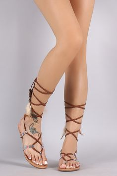 Misbehave Tribal Braided Lace Up Thong Flat Sandal