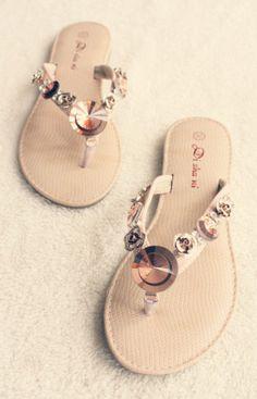 Stones flip people sandals