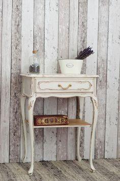 wunderschöner, kleiner Shabby Chic / Landhaus Telefontisch in Weiß - von Junikumo auf DaWanda.com