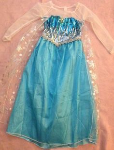 Frozen Queen Elsa Girls Costume Dress Up w/Snowflake Pendant, Size 7/8, New  #Dress