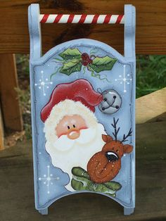 Santa's Sled-Santa, Reindeer, decorations, Christmas, painting, patterns,sled