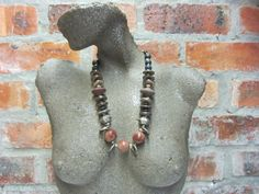 Chunky Beaded Jewelry, Colorful, Rustic, Ethnic, Tribal, African Statement Necklace handmade by South African Artist Yoka Wright #398