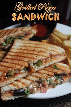 YUMMY TUMMY: Grilled Pizza Sandwich Recipe - Kids Friendly Sandwich Recipes