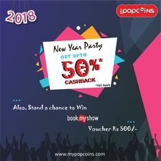 #MyPopCoins is going to make your #new year 2018 #weekend#celebration yet more stylish & affordable. This Friday, Saturday & Sunday, Enjoy double cash back upto 50%* at your favourite outlet in Gurgaon | Delhi | Noida.  Also, Stand a chance to win Book My Show ₹ 500 Voucher.  Download MyPopCoins App : http://onelink.to/zcmcgs  Valid Till : 29th / 30th / 31st Dec, 2017