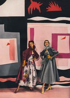 Jean Patchett (L) is wearing a wine-coloured rayon taffeta coat with a printed organdie dress both by Ceil Chapman.  The model on the right is wearing a grey rayon taffeta coat with rayon net at the coat's Pierrot collar, also by Ceil Chapman.