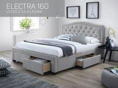 Lit ELECTRA style moderne 160 x 200 cm en tissu gris clair Bed Furniture, Furniture Design, Bedroom Inspo, Bedroom Decor, Upholstered Beds, How To Make Bed, Bed Frame, Home Goods, Bed Sizes