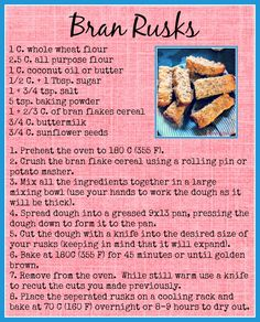 South African Bran Rusks Recipe- A hearty, tasty bran rusk with sunflower seeds. A no fail recipe, perfect for dunking!
