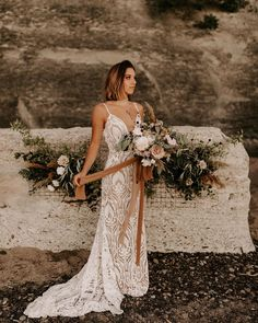 Bonnie 54111 | Willowby Brides | Willowby Bohemian Gown, Bohemian Style, Bend At The Waist, Floor Length Dresses, Fit And Flare, Designer Dresses, Gowns, Wedding Dresses, Lace