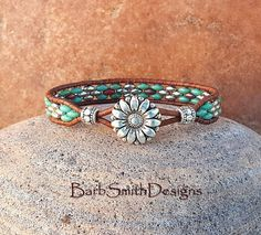 Turquoise Silver Beaded Leather Wrap Cuff Bracelet The