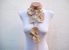 Floral Scarf Crochet Lariat Jewelery Flower Scarves by scarfnurlu