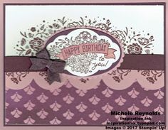 """Label Me Pretty Fig Flowers Birthday handmade birthday card using Stampin' Up! products - Label Me Pretty Stamp Set, Wood Words Stamp Set, Fresh Florals Designer Series Paper Stack, Sponge Brayers, Seasonal Layers Thinlits Dies, 1/2"""" Finely Woven Ribbon, Layering Ovals Framelits Dies, Pretty Label Punch, and 2017-2019 In Color Bitty Bows.  Directions and measurements on my blog.  By Michele Reynolds, Inspiration Ink."""