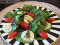 Spinach salad with tapanade dressing