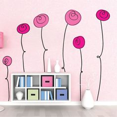 This beautiful Interior Floral Wall Decal Mural from Prime Decals is perfect to uplift any room! This beautiful flower mural sticker will be blooming year-round! Wall Mural Decals, Diy Wall Stickers, Flower Mural, Flower Wall Decals, Wall Art Designs, Wall Design, Flower Nursery, Fabric Wall Art, Floral Wall