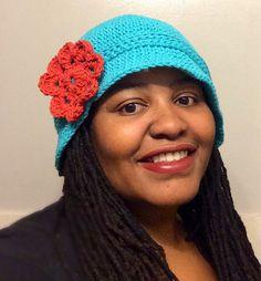 Crochet Cloche Hat - Teal Suprise
