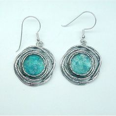 Roman glass earrings in Blue-green fantastic colors. Genuine roman glass and sterling silver earrings. Silver Bracelets, Sterling Silver Earrings, 925 Silver, Glass Earrings, Women's Earrings, Cleaning Silver Jewelry, Silver Rings Online, Silver Rings With Stones, Bridal Jewelry Sets