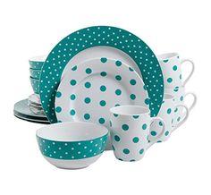 Shop for Isaac Mizrahi Dot Luxe 16 Piece Dinnerware Set, Teal. Casual Dinnerware, Dinnerware Sets, Gibson Dinnerware, Modern Dinnerware, Melamine Dinnerware, Vase Deco, Aqua, Teal Blue, Blue Dots