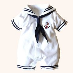 Cool 2017 Newborn baby clothes White Navy Sailor uniforms summer baby rompers Short sleeve one-pieces jumpsuit baby boy girl clothing - $19.92 - Buy it Now! #marinerooutfits
