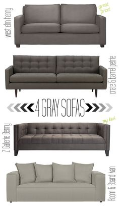 4 Gray Sofas My Favs Are The 2 In The Middle! Bed In Living Room