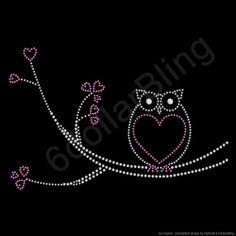 "Rhinestone Iron on Transfer ""Heart Owl"" Large Owl Design Everyone Loves Bling | eBay"