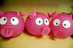 Paper lantern pigs I made for Jonas' piggy party!