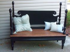 Bench made from old headboard and footboard (repurpose furniture)