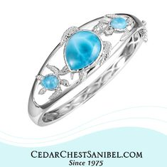 Another Larimar Beauty! 💙  Sterling and Larimar Turtles Bangle Bracelet by Alamea.   #ShopOnSanibel #SeaLifeJewelry #Larimar #SanibelIsland