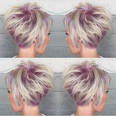 Our most popular short hair picture on Instagram. Tossed blonde hair color with a lilac hair color at the base by Alexis Thurston. Short haircut Blonde hair color Lilac hair color hotonbeauty.com