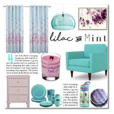 """""""Color Challenge: Lilac & Mint"""" by merima-balukovic ❤ liked on Polyvore featuring interior, interiors, interior design, home, home decor, interior decorating, Joybird Furniture, Vintage Print Gallery, Contigo and Kartell"""