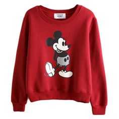 MICKEY JUMPER (€25) ❤ liked on Polyvore featuring tops, sweaters, shirts, sweatshirts, shirts & tops, red top and red shirt