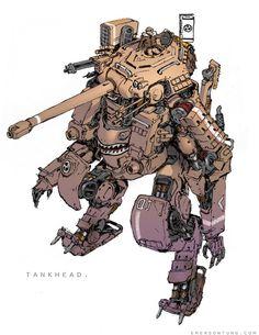 Nuthin' But Mech Site B: Introduction - Emerson Tung on Wookmark Character Concept, Character Art, Concept Art, Rpg Cyberpunk, Emerson, Arte Robot, Mekka, Bd Comics, Anime Comics