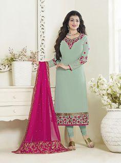 Ayesha Takia Green Faux Georgette Kameez With Churidar 83144