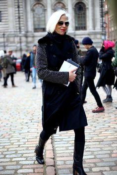 Street Style: London Fashion Week Fall/Winter 2014 | Vanity Fair - Linda Fargo outside of Erdem