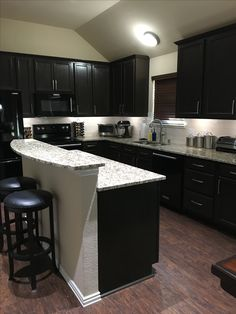 Santa Cecilia Granite And Dark Cabinets Backsplash Kitchen Countertops