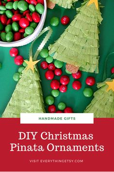 Christmas Tree Piñata Ornaments {Holiday Tutorial} - EverythingEtsy.com Diy Christmas Gifts, Handmade Christmas Tree, Christmas Ornaments, Holiday Decor, Handmade Gifts, Top, Kid Craft Gifts, Christmas Jewelry, Craft Gifts