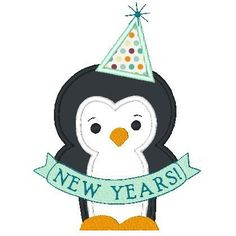 New Years applique design. Applique penguin and filled banner. on Etsy, $4.00