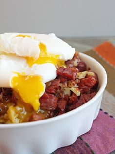 Corned Beef & Cauli Hash w/ Poached Eggs.  Low Carb Breakfast Bliss!
